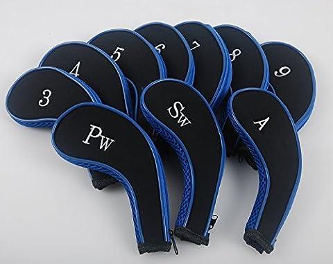 mamimamih 3-Sw Golf 10Long cou Fer en cuir synthétique durable Couvre Tête éclair noir et bleu pour s'adapter à toutes les marques Titleist, Nike, Callaway, Ping, TaylorMade, Cobra,,