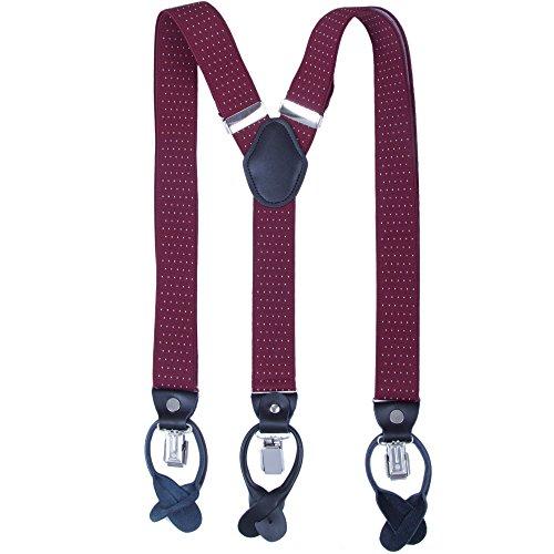 Herren Hosenträger mit Clips Knöpfe - Breite 35mm Y Form Längenverstellbar Hosenträger für Anzug Smoking (Wein Rot Polka Dot) - Polka Dot Hosenträger