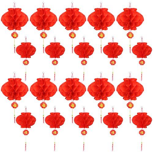 Dreamtop 20 Stück Chinesische Neujahrslaternen aus Papier, für chinesische Frühling, Festival, Hochzeit, Restaurant, Dekoration, 2 Größen