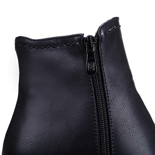 AgooLar Damen Rund Zehe Blend-Materialien Hoher Absatz Stiefel Schwarz-Reißverschluss