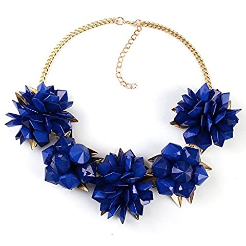 TWOPAGES Sapphire Blue Spring Statement Choker Collar Beach Necklace Jewelry Gifts for (Joan Rivers Gioiello)