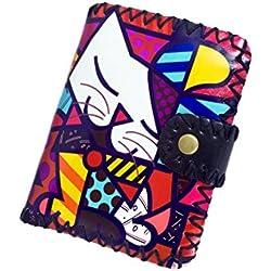 Abaría - Cartera de piel para niña con caja de regalo, varios colores de gato