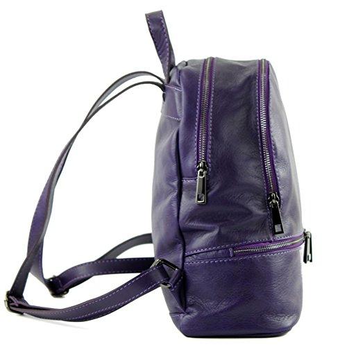 modamoda de - ital. Lederrucksack Damentasche Rucksack Citytasche Freizeit Nappaleder T137 Lila