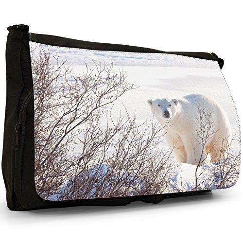 Orsi polari–Borsa Tracolla Tela Nera Grande Scuola/Borsa Per Laptop Polar Bear in Branches & Snow
