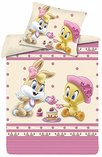 Kinderbettwäsche Disney III 2-teilig 100% Baumwolle 40x60 + 100x135 cm mit Reißverschluss (Teeparty)