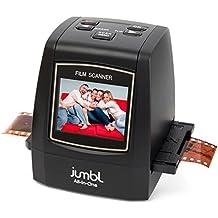 """Jumbl Escáner/Digitalizador todo en uno de alta resolución de 22 MP – Convierte negativos, diapositivas de 35 mm, así como película de 110, 126, 127 y Super 8 a JPEG digital de 22 megapíxeles - No se necesita ordenador/software para manejarlo – Cuenta con pantalla en color de 2,4"""" y salida para TV – Incluye adaptadores de carga rápida para un escaneado de repetición rápida de diapositivas y negativos"""