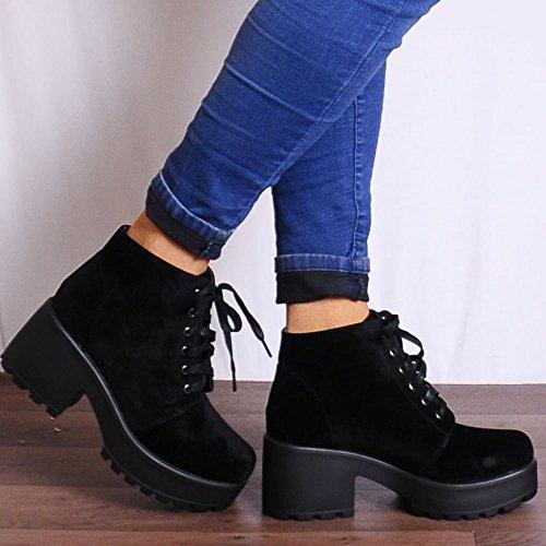 Shoe Closet Dames Noir Simili-Suède Dentelle Ups Plateforme Bottines De Chaussures Hauts Talons Noir