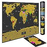 WIDETA Weltkarte zum Rubbeln in Deutsch mit Länderflaggen/Größe XL (60 x 42 cm) / + Bonus A4 Deutschlandkarte zum Rubbeln in Gold und schwarz/Made in Germany