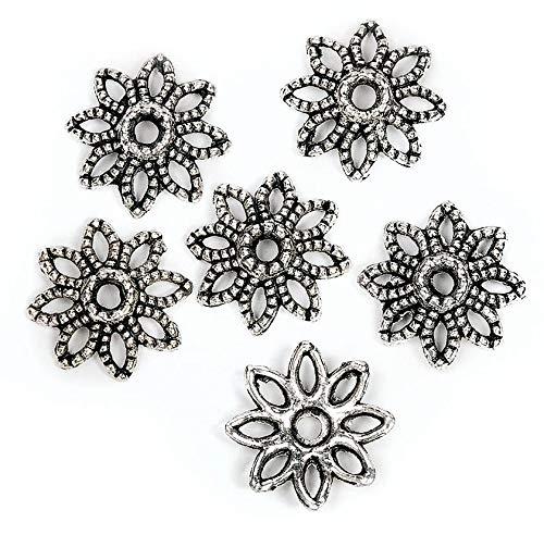 Calottes déco pour perles « Fleurs 1 », 6 pc.