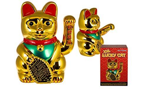 Winkende Katze Winkekatze Maneki Wohlstand Geld Glück Feng Shui Asia Gold 16cm