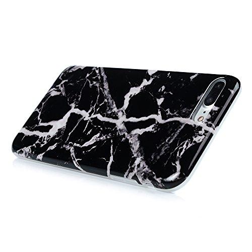 """KASOS Coque pour iPhone 7 Plus 5.5"""", Coque Housse Case Bumper Marbre Étui Coque de Protection en TPU Souple Solide de Couleur Silicone Ultra Hybrid Ultra Mince Léger Modèle Dessin Housse Pour iPhone 7 Blanc et Noir"""