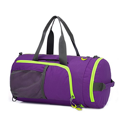 Duffel Bag Waterproof, UBaymax Lightweight Foldable Sports Duffel Gym Bag, Holdall Cross Body Shoulder Backpack 3 in 1 Hybrid Duffel Handbag Travel Hiking Camping Luggage Bag for Men and Women(Purple)