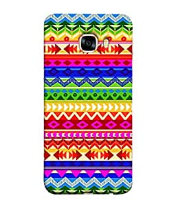 FUSON Designer Back Case Cover for Samsung Galaxy C7 SM-C7000 (Seamless Pattern Blue Design Drawing )
