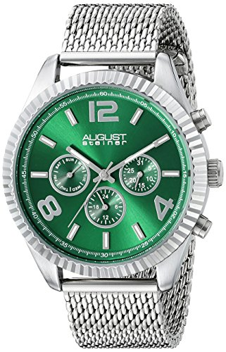 August Steiner uomo AS8196GN rotondo verde Radiant Sunburst Dial Two Time zone quarzo Orologio da polso