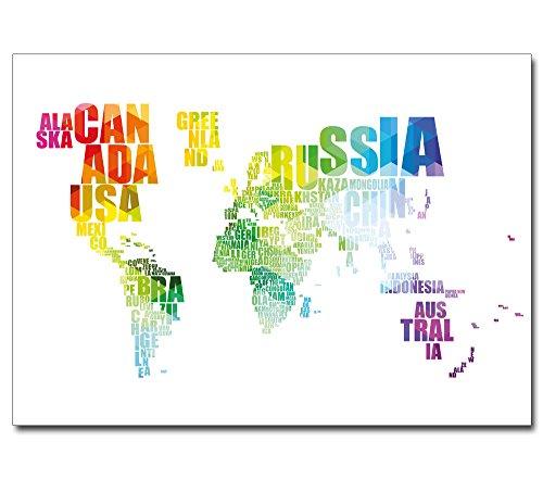 Poster Weltkarte --- Unsere Welt in Worten --- für Büro Arbeitszimmer Typografie (Weltkarte In Worten)