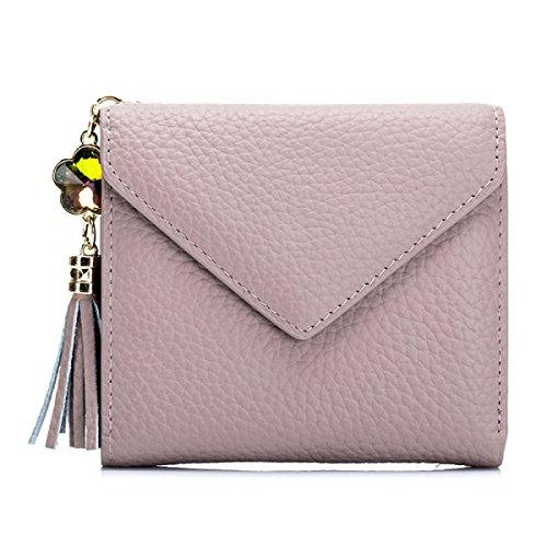 Donne Genuino Cuoio Handy Tascabili Leggero Moda Soldi Clip,Blue-OneSize Pink
