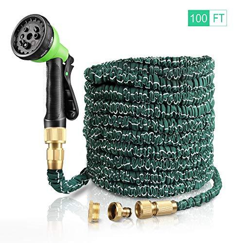 KOYOSO Tubo Estensibile da Giardino 30M Acqua Giardino, Tubo Irrigazione Estensibile 100FT con Ottone Solido Connettore 8 Ugello Spray Modello per l'irrigazione del Giardino e Il Lavaggio Auto