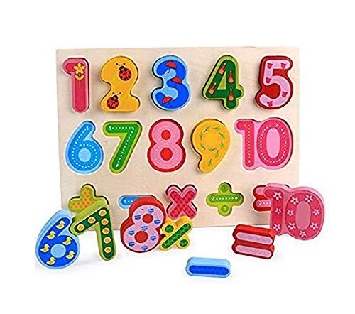 Holz Puzzle Board, moonvvin 3D Puzzle für Mädchen Jungen Kleinkinder Babys Kinder Holz Puzzle Spielzeug für 2–7Jahre–Zahlen, Alphabet, und Form Puzzle Numbers