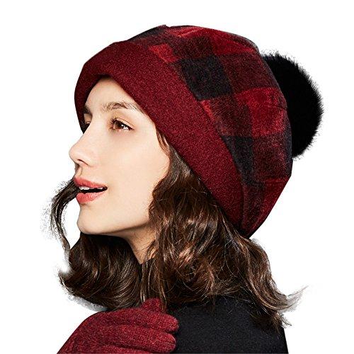 Mit Rote Beanie Pom (Kenmont Herbst Winter Baske Baskenmützen Wollmütze Barett Cap Beanie Mütze Warm Damenmütze Hut mit Herausnehmbar Faux Pelz Ball Pom Pom (Rot))