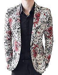 HaiDean Chaqueta De Traje Floral Hombres De Chaqueta Los Modernas Casual De  Moda Casual Blazer De 59621f53d1f