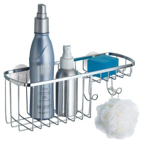 mDesign Duschkorb zum Hängen aus Edelstahl – die ideale Duschablage mit 2 Haken für Shampoo, Schwämme, Rasierer und Seife – Duschzubehör ohne Bohren zu montieren – mit 2 Saugnäpfen – silber