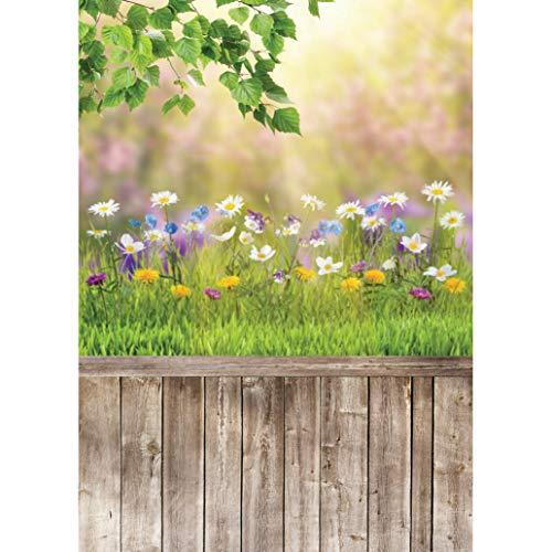 AIIKES 5x7FT/1,5Mx2,1M Fotografie Hintergrund Frühlings Grünes Gras Baum Blumen Holzboden Foto Hintergrund Baby Neugeborenes Porträt Foto Kulissen Photocall Foto Studio 10-523