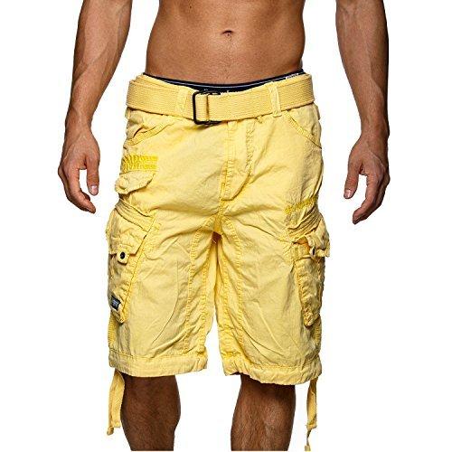 Geographical Norway Hombre Cortos Cargo People - algodón, amarillo, 100% algodón\n 100% algodón...