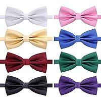 AUSKY 8 PACKS Different Color Elegant Adjustable Pre-tied bow ties for Men Boys