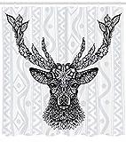 Abakuhaus Hirsch Duschvorhang, Bohem Ethnic Deer, Seife Bakterie Schimmel und Wasser Resistent inkl. 12 Haken und Farbfest, 175 x 180 cm, Schwarz Weiß