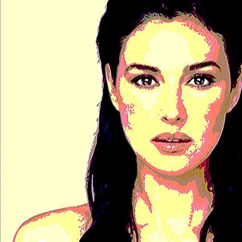 Monica Bellucci–Bild moderne handbemalt–Pop Art Effect (Format 50x 50cm) (Schlag Schneekugel)