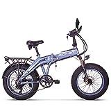 Unbekannt Rich BIT Elektrisches Fett Fahrrad 20 '' * 4,0 '' Fetter Reifen 500 Watt 48 V 10 Ah Lithium-Ionen-Batterie im Inneren Faltbarer Fahrradrahmen (Blau)