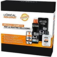 L'Oréal Paris Men Expert Cofanetto Uomo Edizione Limitata per la Routine Estiva, Crema Idratante, Balsamo Dopobarba, Spray Deodorante e Bagnodoccia