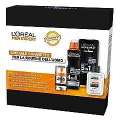 Idea Regalo - L'Oréal Paris Men Expert Cofanetto Uomo Edizione Limitata per la Routine Estiva, Crema Idratante, Balsamo Dopobarba, Spray Deodorante e Bagnodoccia
