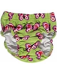 MAXOMORRA Mädchen Badeanzug Grün Schmetterlinge Badehose UPF50 UV Schutz
