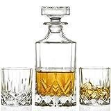 RCR Whisky-Set OPERA 3-tlg. - 1 Karaffe + 2 Whiskeygläser aus Kristallglas + GRATIS Cocktailgläser platin MALIKA GRAND 2 Stk.silberfarben