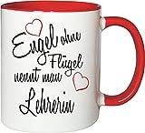 Mister Merchandise Becher Tasse Engel Ohne Flügel Nennt Man Lehrerin Kaffee Kaffeetasse liebevoll Bedruckt Beruf Job Geschenk Weiß-Rot