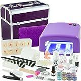 Mobiles UV Gel Nagelstudio Starter-Set lila für Gelnägel Nagelmodellage mit Kosmetik-Koffer Croco Design - Lampe - Handauflage - Tips Nagelset - Nailart