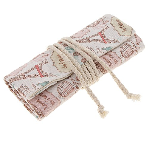 Homyl 36 Holes Canvas Wrap Roll Up Pencil Pen Brush Bag Holder Case Storage Pouch, Stationery Case Pencil Organizer for Student Artist Traveler Gifts White