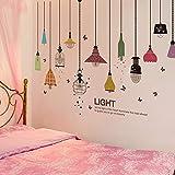 Bunte Kronleuchter Wandaufkleber PVC Material Diy Glühlampen Wandtattoos Für Wohnzimmer Schlafzimmer Dekoration