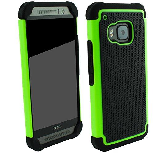 Outdoorschutzhülle für HTC ONE M9 Case inkl. Panzerglas 9H transparent Outdoor Grün Cover Hybrid Schutz Hülle Sturz Bumper Folie Schwarz Green