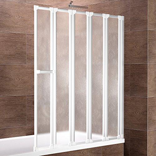 Schulte Duschwand Bien inkl. Handtuchhalter, 115x140 cm, 5-teilig faltbar, Kunstglas Tropfen-Dekor, Profilfarbe alpin-weiß, Duschabtrennung für Badewanne und Eckwanne