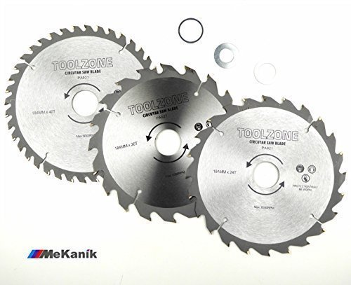 toolzone-pa021-184-mm-tct-circular-saw-blades-20-24-40-teeth-with-adapter-o-rings-silver-3-piece
