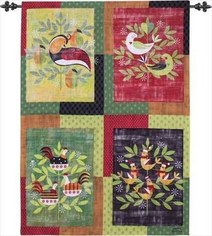 Manuelle Graphic Partridge bedruckt Woven Indoor Outdoor Jacquard Wand aufhängen swgrp 66 x 91,4 cm (Girl Carolina North)