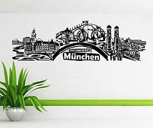 Wandtattoo München Stadt Deutschland Skyline Wand Aufkleber Wandbild 1M619, Farbe:Weiß Matt;Skyline Länge:57cm