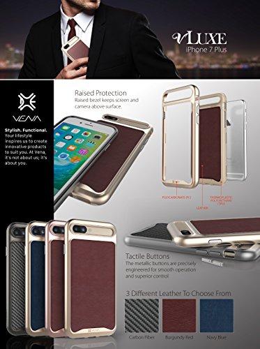 iPhone 7Plus Leder Fall, VENA [vluxe] [Rückseite Leder | Metall Button] Slim Dual Layer Schutzhülle für Apple iPhone 7Plus (14cm) Burgund Rot / Gold