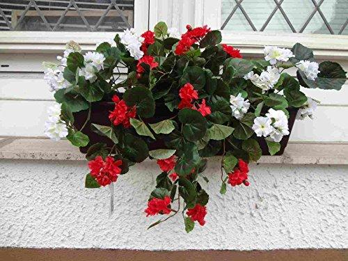 künstliche hängeGeranien rot/weiss im 60 cm.Balkon- Kasten,braun