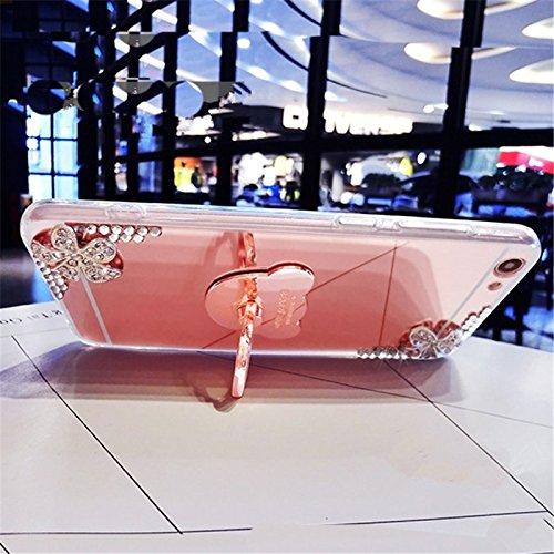 EUWLY Custodia Specchio Case Cover per iPhone 6 Plus/iPhone 6s Plus (5.5), Ultra Sottile Specchio Riflessione Scintilla TPU Custodia Case Bling Glitter Strass Diamante Fiore TPU Custodia Cover Orso A Specchio Diamante Fiore,Oro