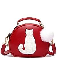 35e1c5f4c0858 WOMJIA Nette Katze PU-lederner Schulterbeutel Handtaschen Geldbeutel