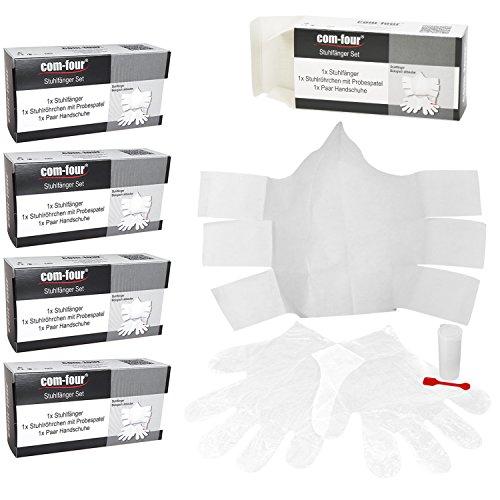 com-four® 5X Stuhlfänger-Set für Stuhlproben zu Hause, mit einweg Stuhlfänger, Nicht sterilem Stuhlröhrchen, Probespatel und Handschuhen - einfach und Hygienisch (05 Stück)