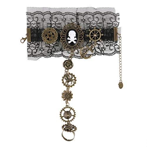 dPois Damen Steampunk Zahnräder Gothic Armband Vintage Retro Armband Victorian Handgelenk Cuff Gear Frauen Charms Cosplay Kostüm Zubehör Schmuck Accessoire Schwarz B One Size